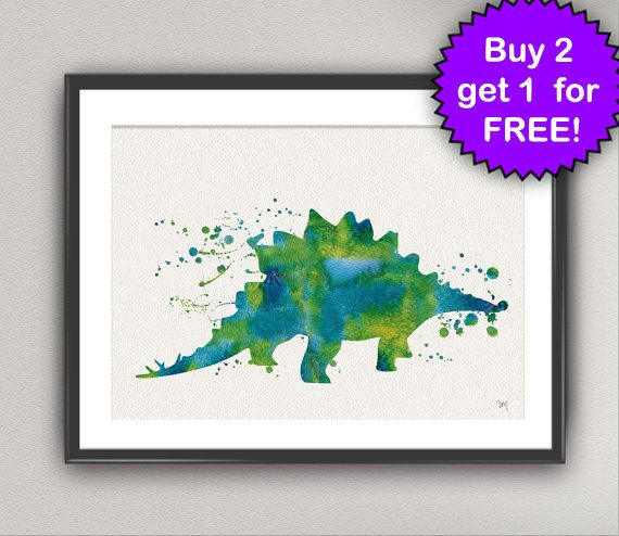 DINOSAUR Watercolor Art Print Stegosaurus Ink Painting Dinosaur illustrations Art Print Wall Art Poster Giclée Wall Decor Art Home (Nº3) #dinosaurillustration