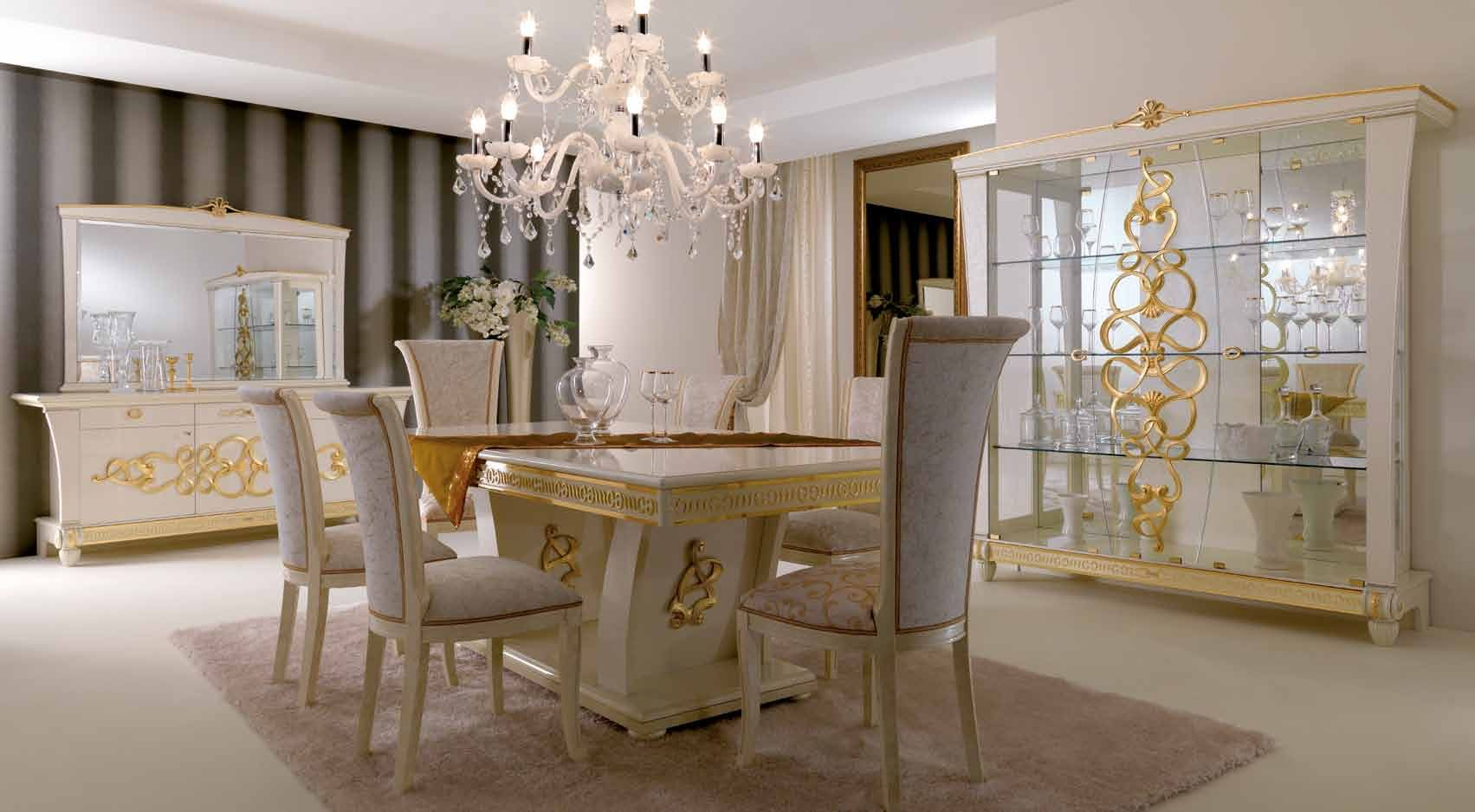 Beautiful Luxury White Dining Room Design With Luxury Rectangle White Table That Have  Gold Scheme And Vintage White Chairs On The Soft White Rug Also Luxurious  White ...