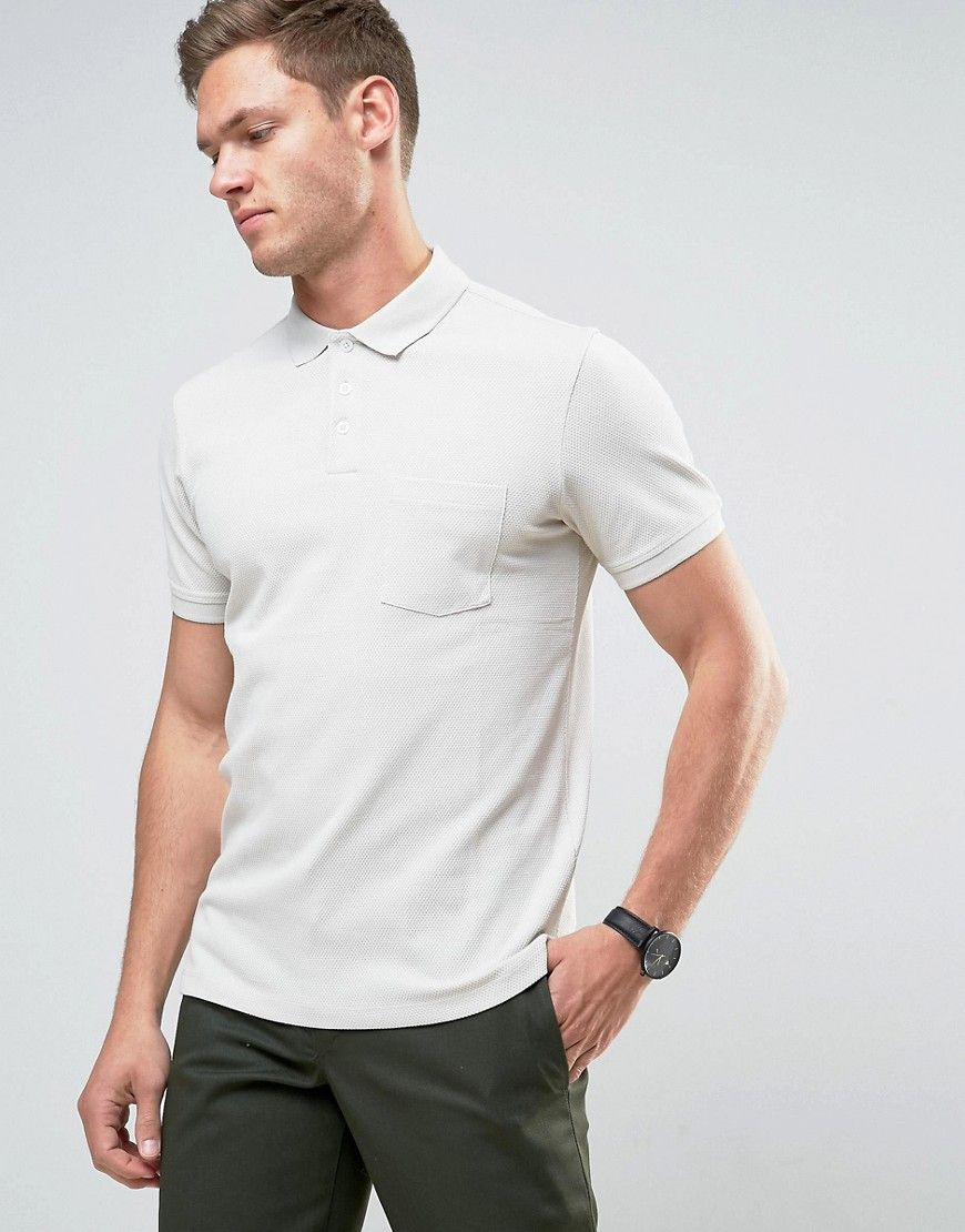 Selected Homme Textured Polo - Gray   Mens
