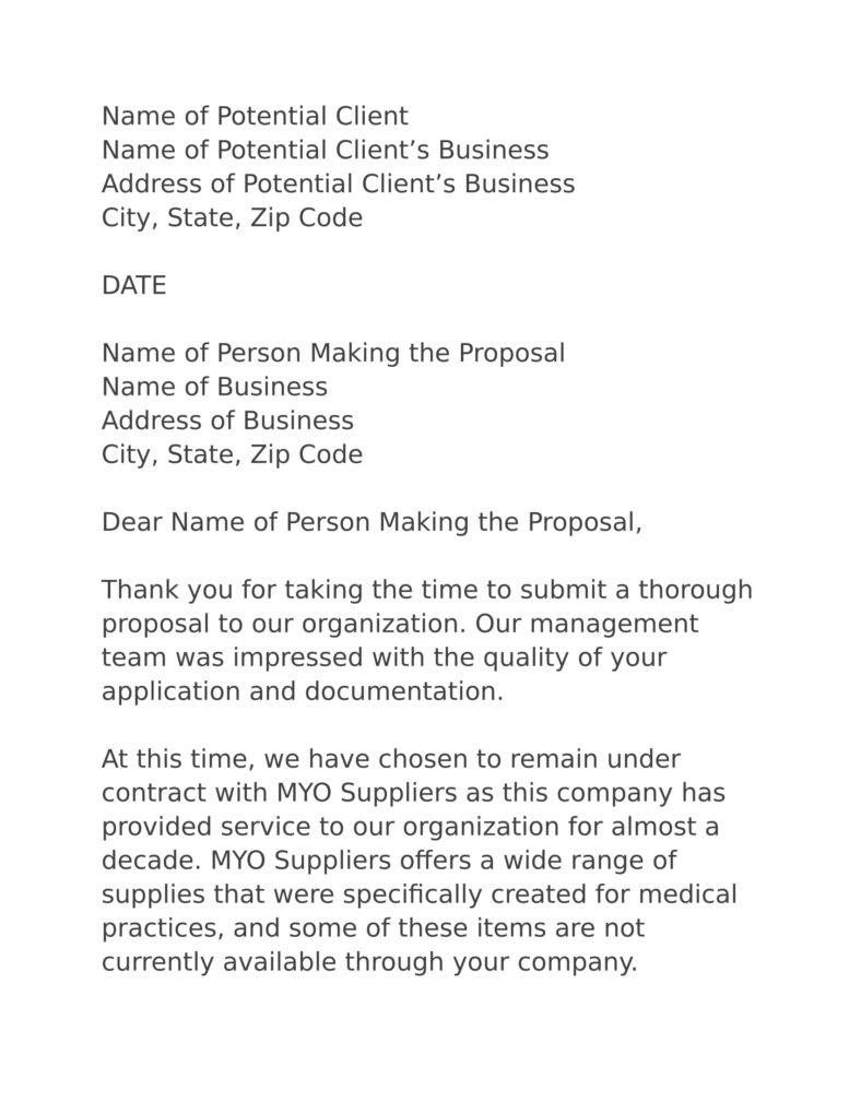 Business Proposal Rejection Letters Free Premium Templates Sample
