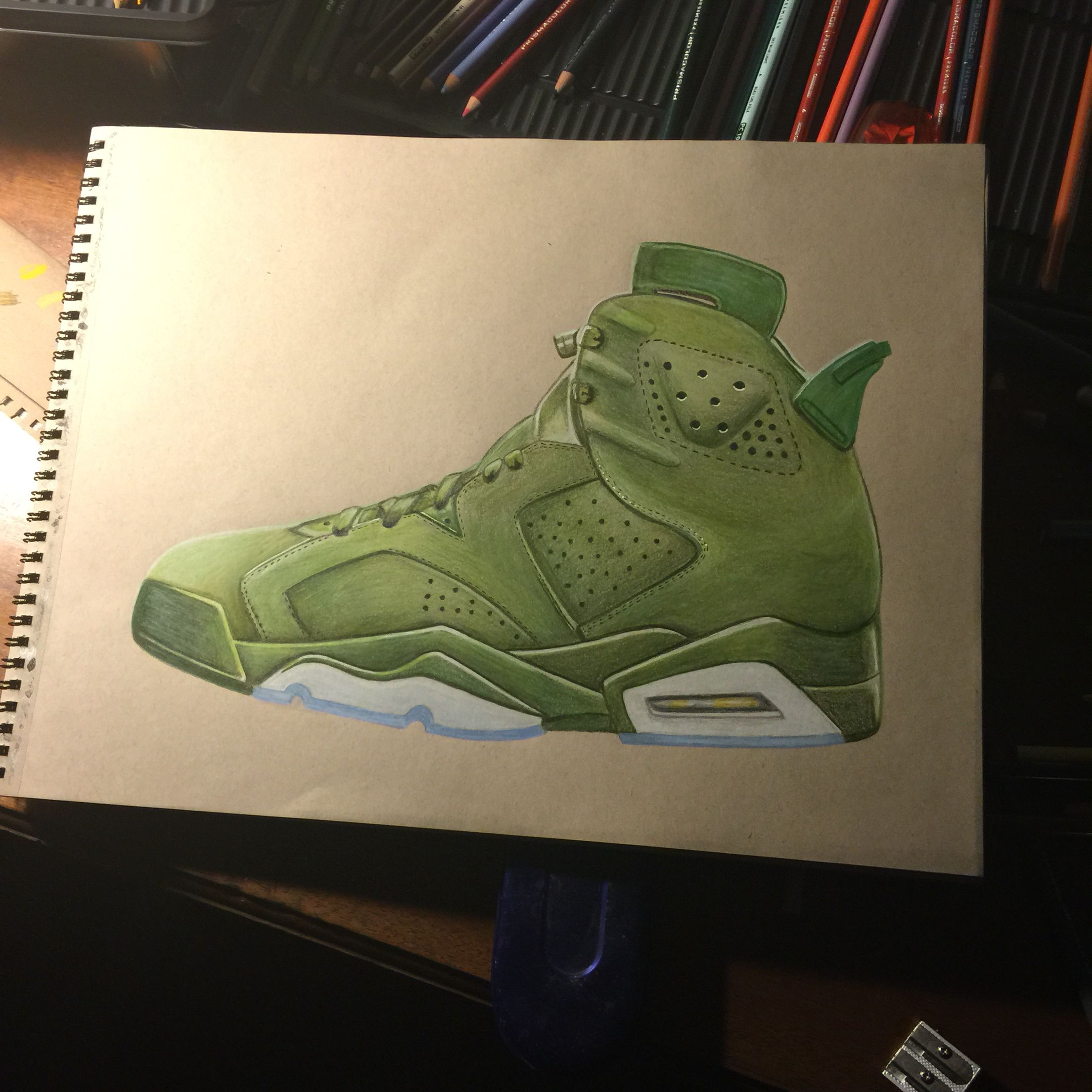 Nike Jordan 6 Macklemore show. Drawing with prisms colored pencil