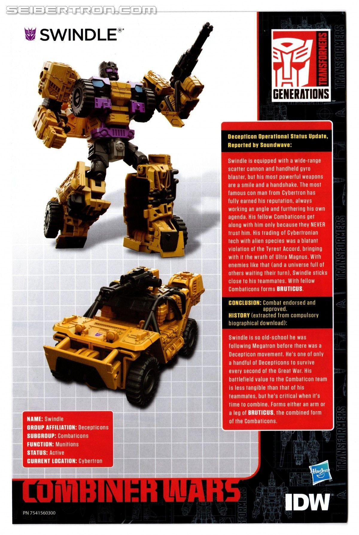 Transformers Combiner Wars SWINDLE Comic Book