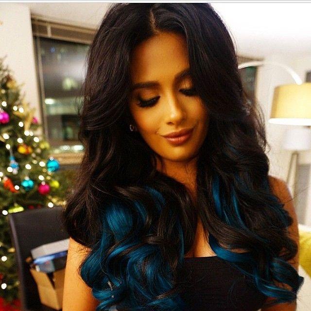 Darkest Brown Blue Underneath Blue Hair Highlights