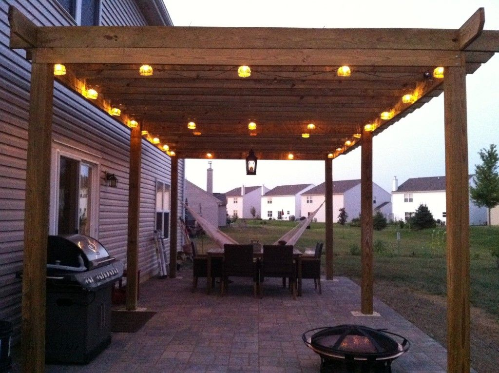 Nice Size Patio With Fire Pit Bbq And Hammock Also Like The Lights