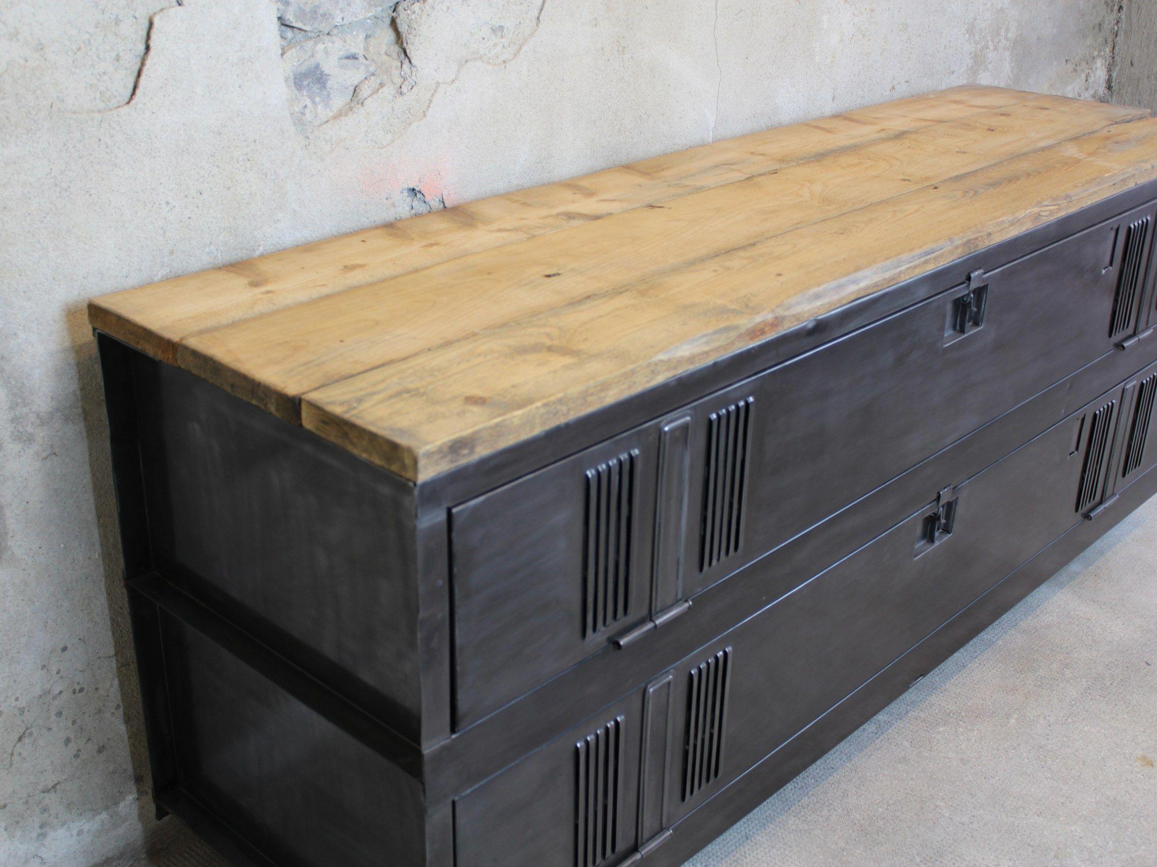 annecy-meuble tv style industriel ancien vestiaire patiné bois acier ...