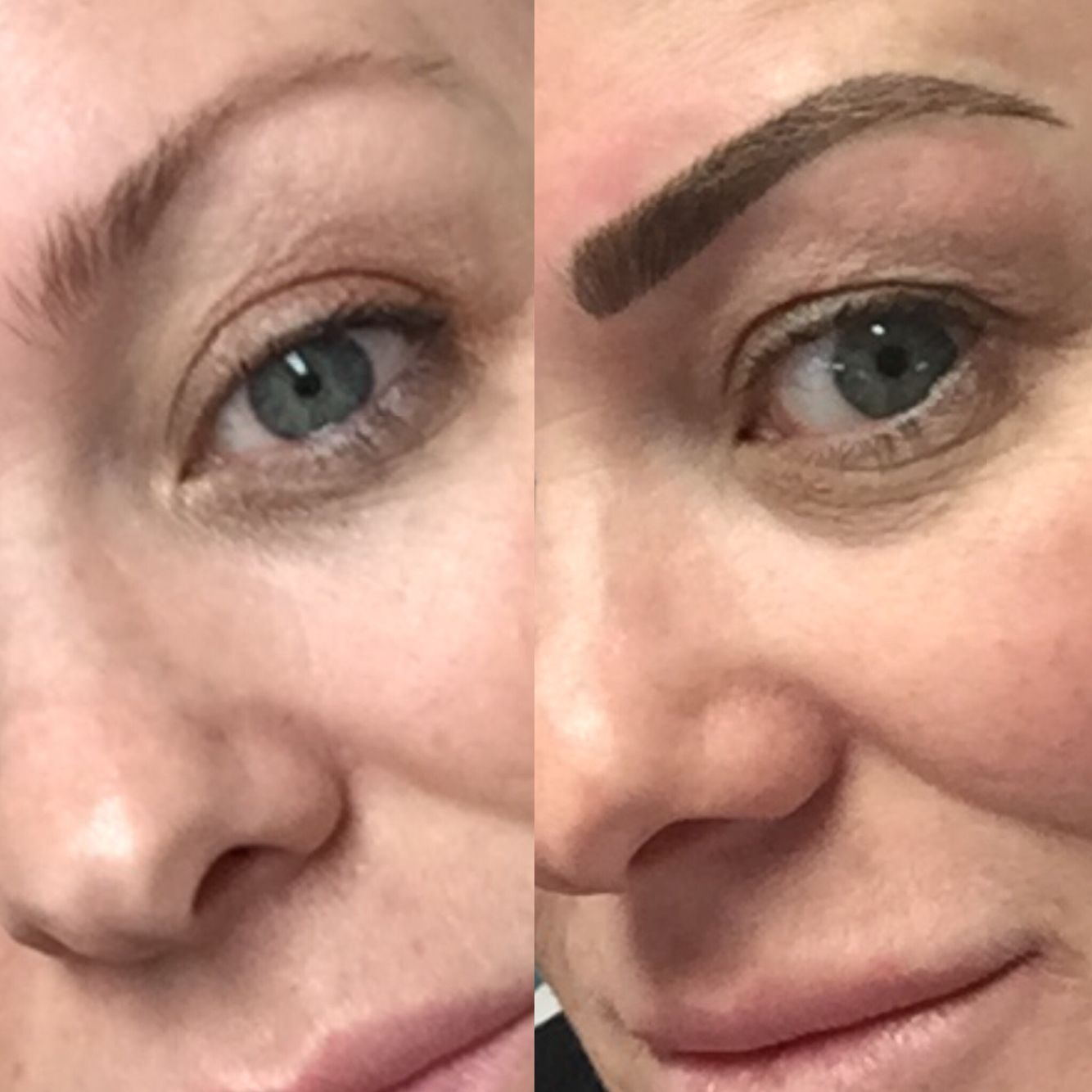 Before and after - eyebrow tattoo. Brushstroke technique.. Love love ...