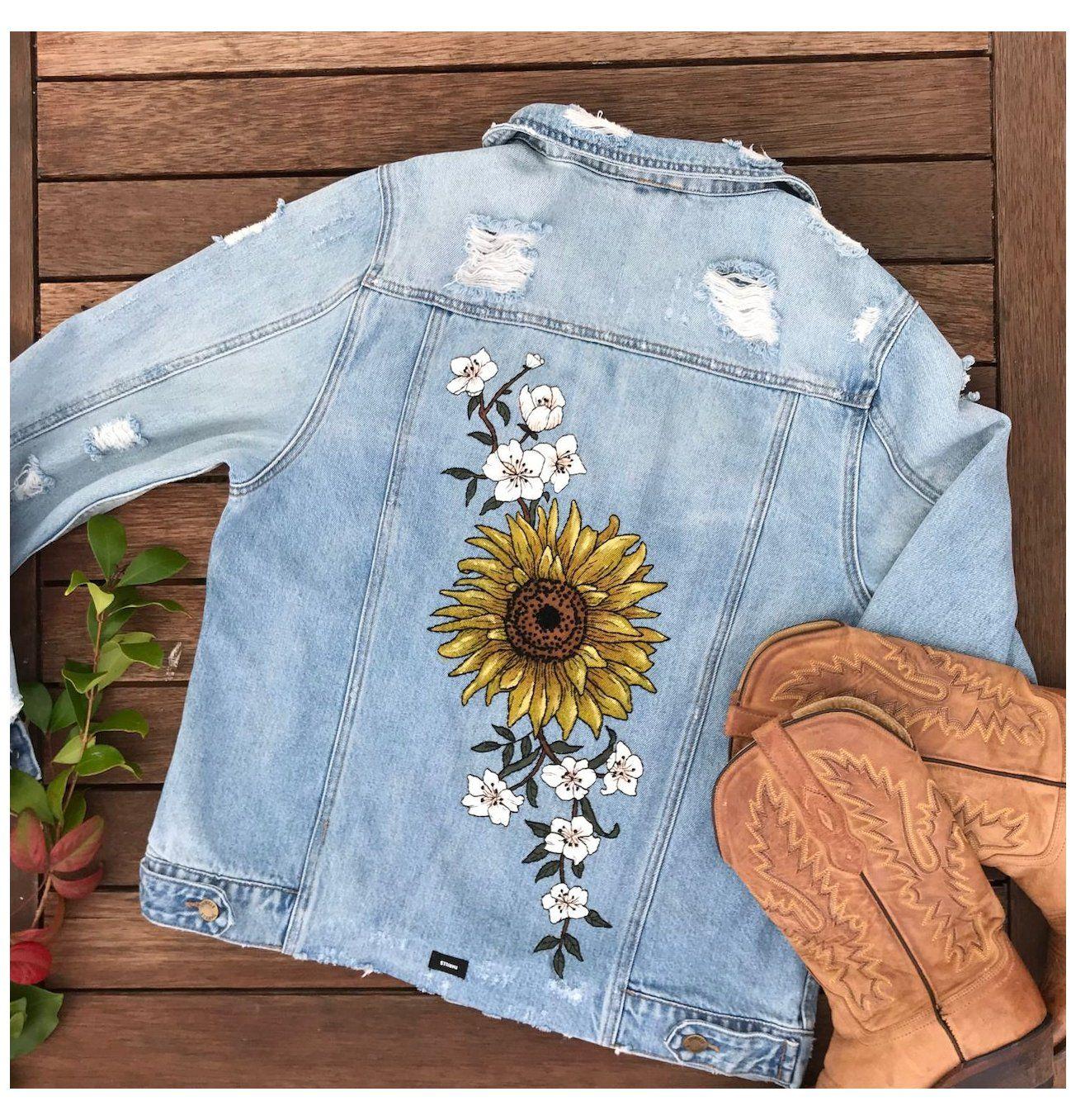 Beautifully Frank Custom Made Jackets Hand Painted Denim Jacket Sunflowers Handpainteddenimja In 2021 Hand Painted Denim Jacket Painted Denim Painted Clothes Diy [ 1356 x 1304 Pixel ]