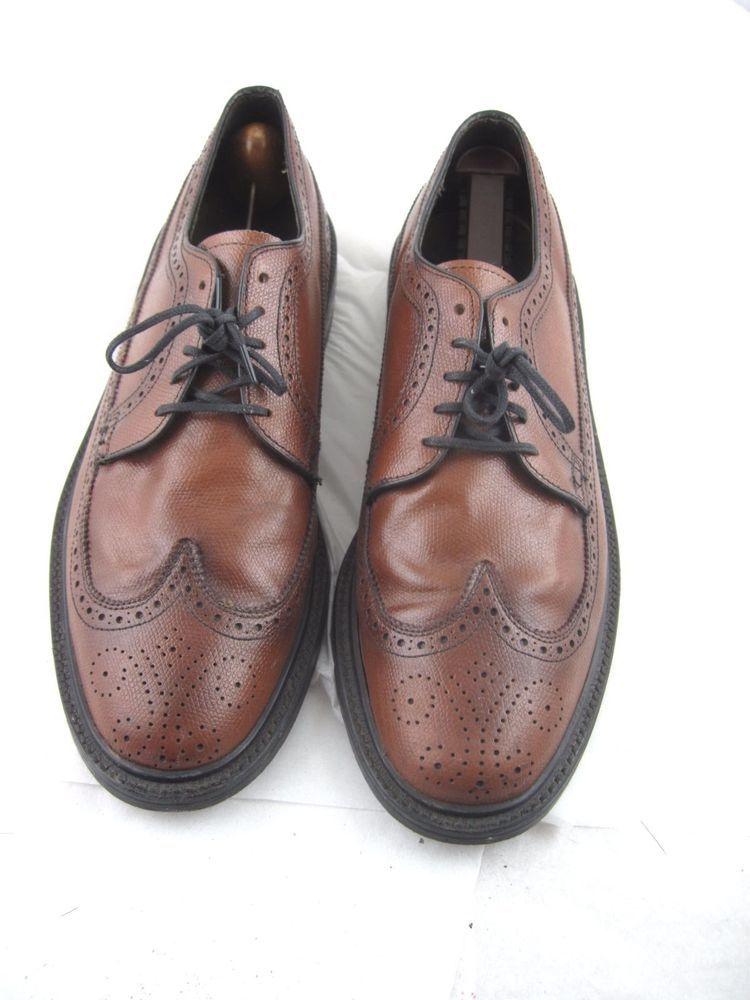 b5db78775 Vintage nunn bush 10.5D 43.5 mens dark brown wingtips oxfords dress shoes   NunnBush  Oxfords