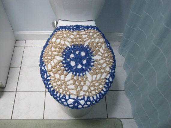 Crochet Toilet Tank Lid Cover Denim Buff Ttl6b