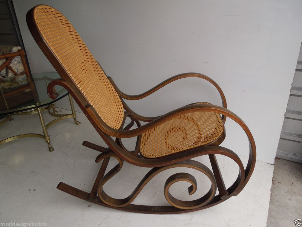Bentwood Rocking chair Mid Century Thonet Rocker cane back wood porch  vintage - Wooden Rocking Chairs Caning Bb Pinterest Wooden Rocking