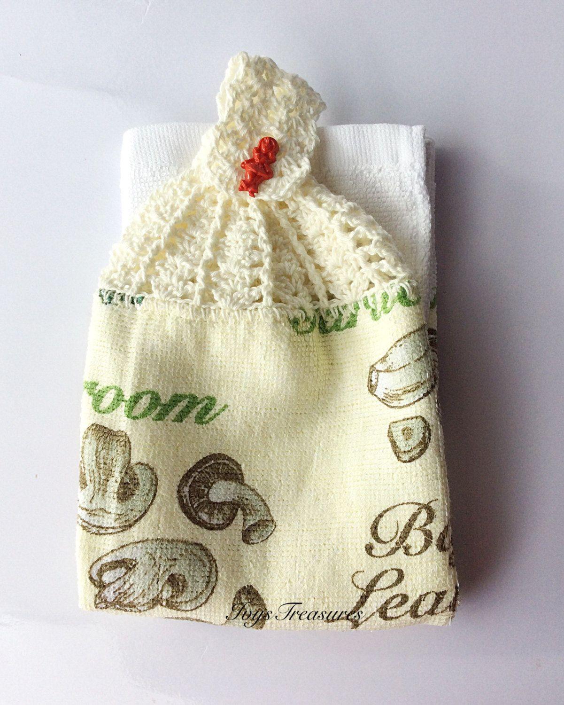 Mushroom Capsicum Crochet Topped Tea Towel by IvysTreasures on Etsy ...