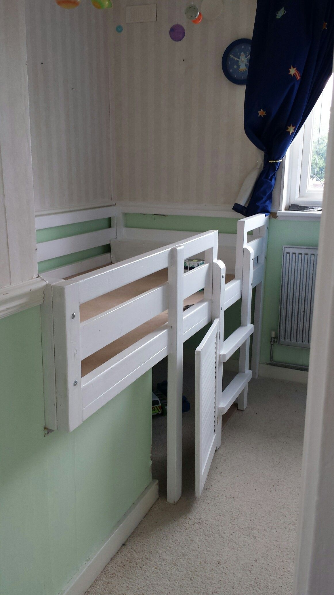 Bed Over Stair Box With Storage And Stairs: Our Custom Designed Bed To Incorporate Stair Bulkhead