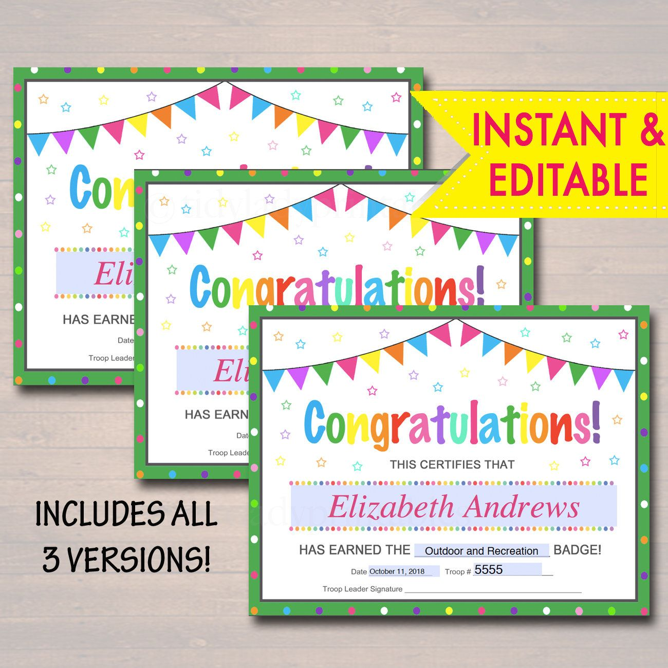 Editable Certificates Badge Patch And Award Certificate Etsy Editable Certificates Awards Certificates Template Troop Leader Cub scout award certificate template