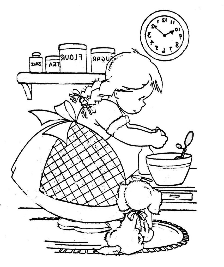Cooking girl Coloring Book | Pinterest | Coloring books, Sunbonnet ...
