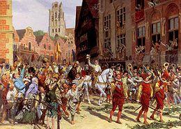 Maurits van Nassau in Rotterdam na de slag bij Nieuwpoort. Of deze intocht werkelijk plaats heeft gevonden, is onbekend. Schilderij van Lucien Alphonse Gros.
