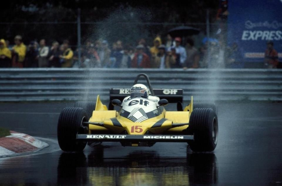 f1 1981 xx grand prix du canada montreal alain prost driving his renault re30 under a hard. Black Bedroom Furniture Sets. Home Design Ideas