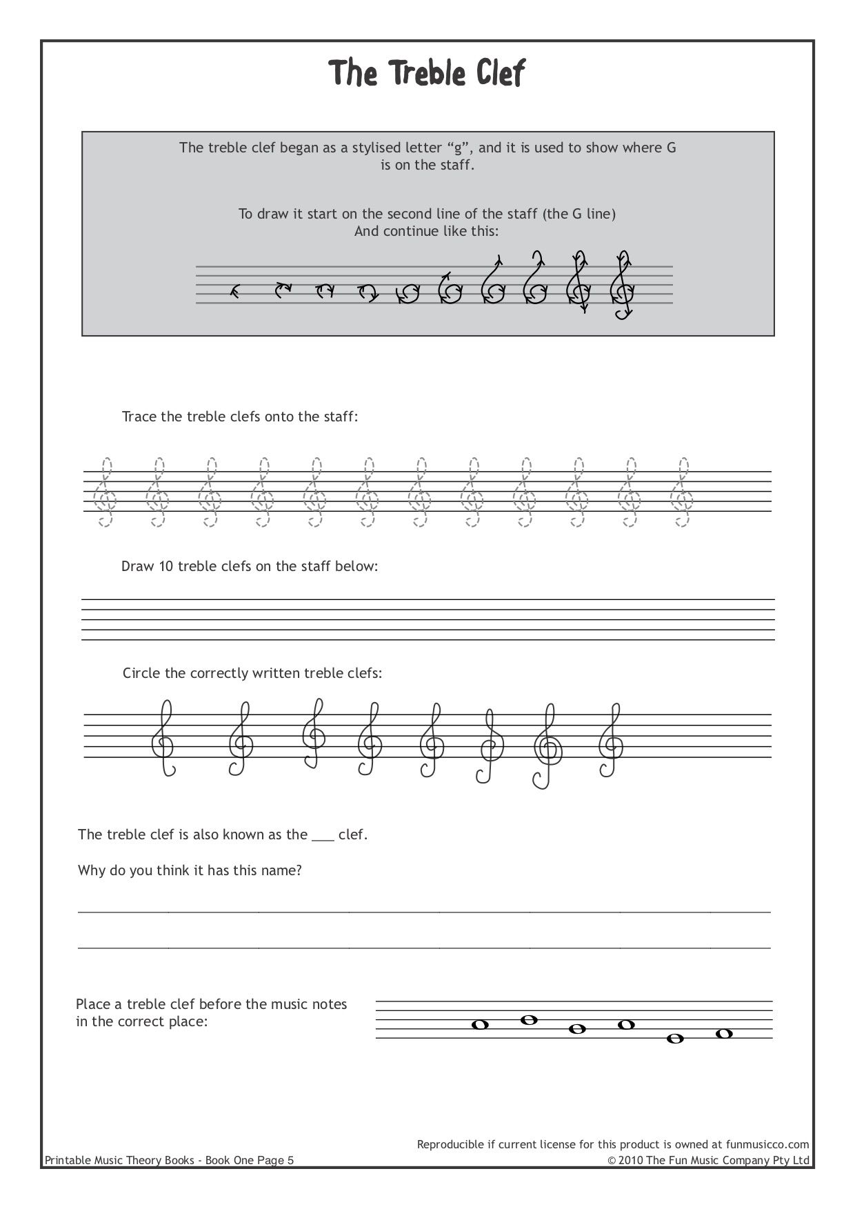 Downloadable Music Theory Worksheets At Funmusicco