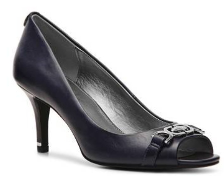 """Bandolino """"Shoe Lust"""" Pump Navy Open toe with decorative buckle 2¾"""" covered heel with gold rand"""
