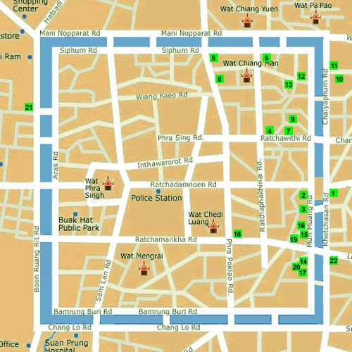 Old Town Map Chiang Mai Thailand Oh the places you will go