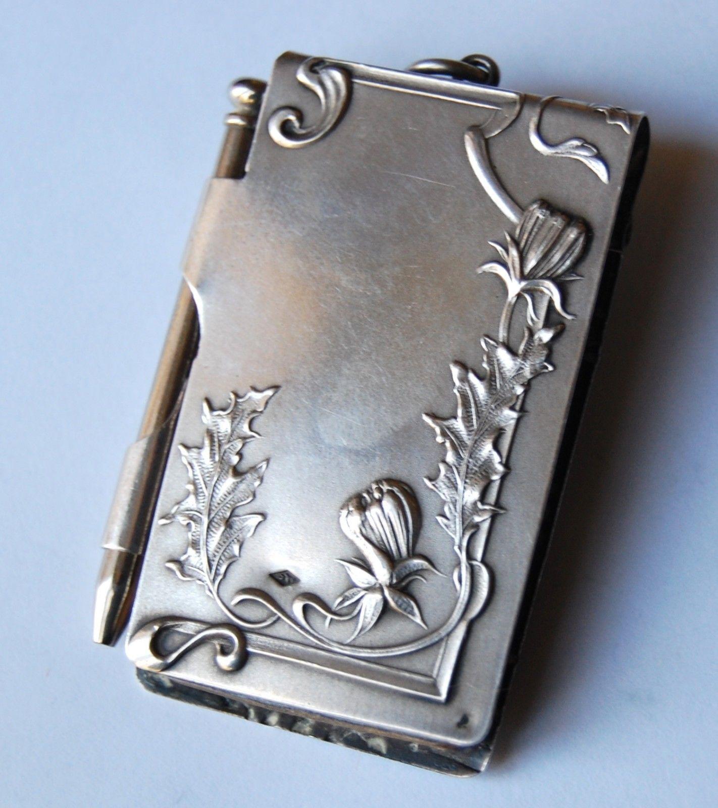 Antique French Silver Art Nouveau Memoire Notepad Chatelaine Pendant Charm Ebay Art Nouveau Jewelry Art Nouveau Art Deco