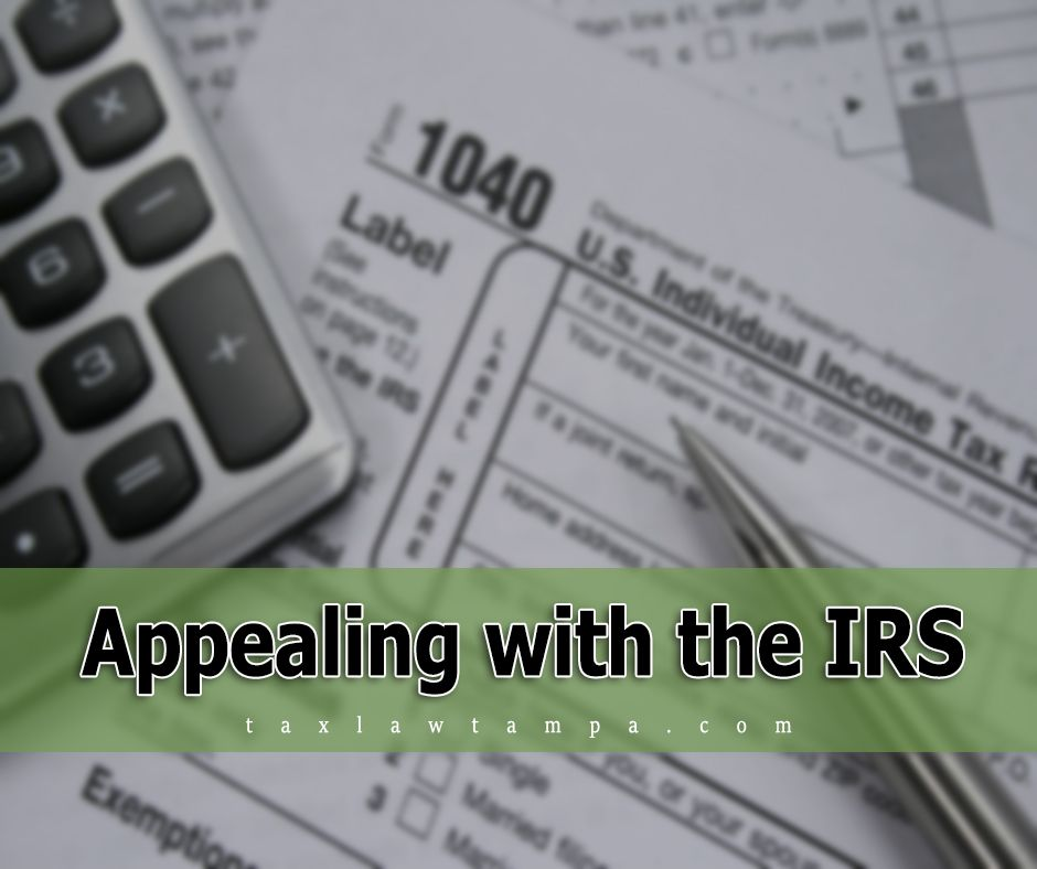 You can contact the IRS Appeals Office in one of the