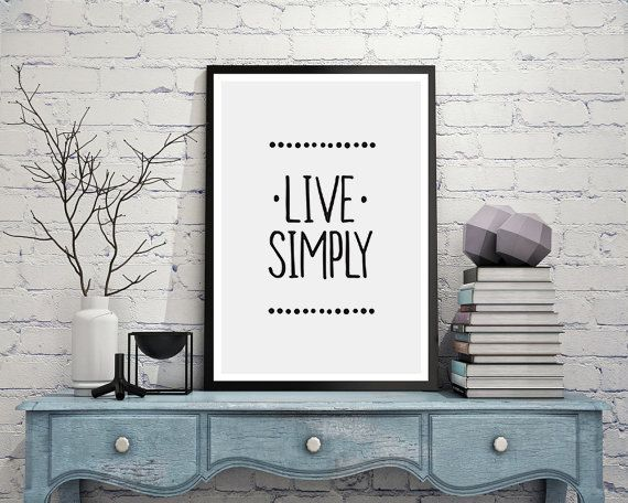 Live Simply quote wall decor,Minimalist art print,Zen wall art ...