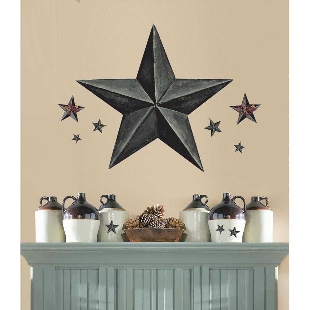 New Giant SLATE GRAY BARN STAR WALL DECALS Country Kitchen