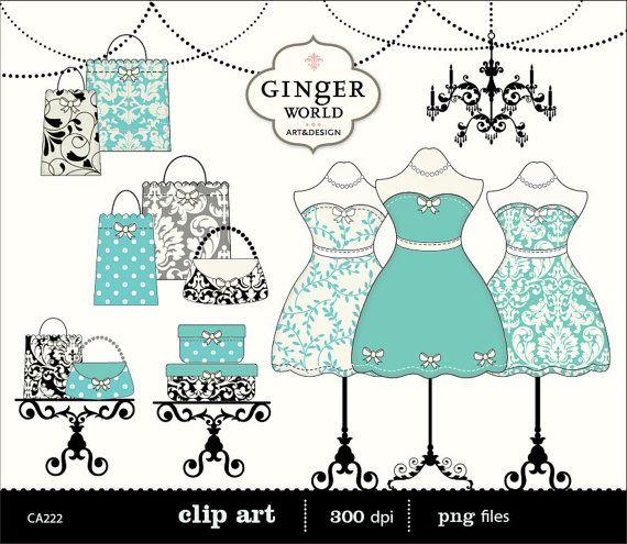 Chic Fashion Boutique Dressing Room Shopping Clip Art Digital Illustration Tiffany Blue Turquoise CA222