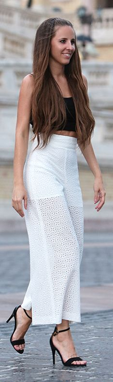 Festy In Style White Wide Leg Eyelet Pants #Fashionistas