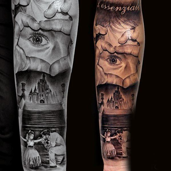 9b79683db3a7c Affectionate Dad And Daughter Near Castle Family Tattoo Mens Full Sleeves