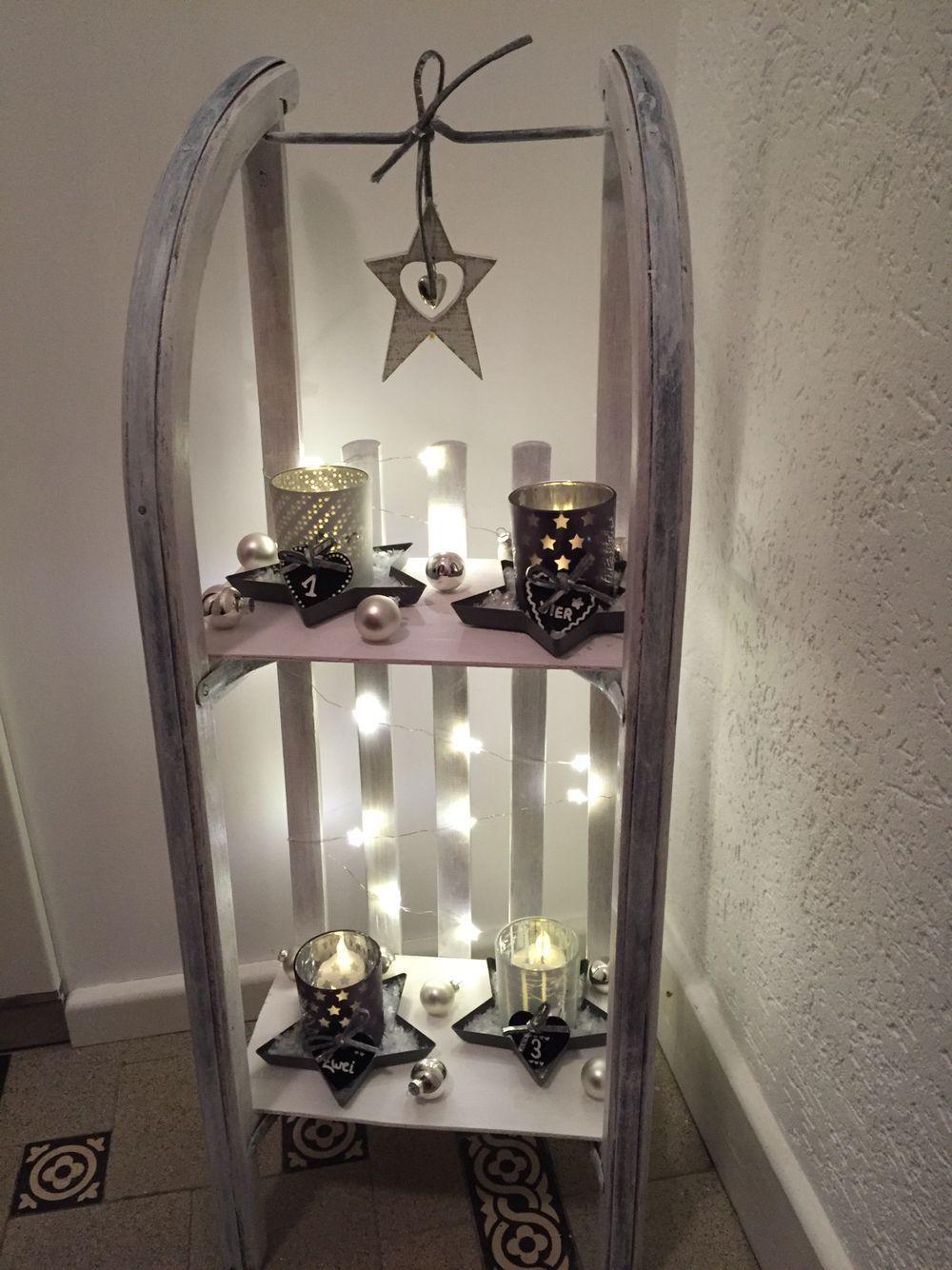 adventskranz mal anders weihnachten deko schlittenregal. Black Bedroom Furniture Sets. Home Design Ideas