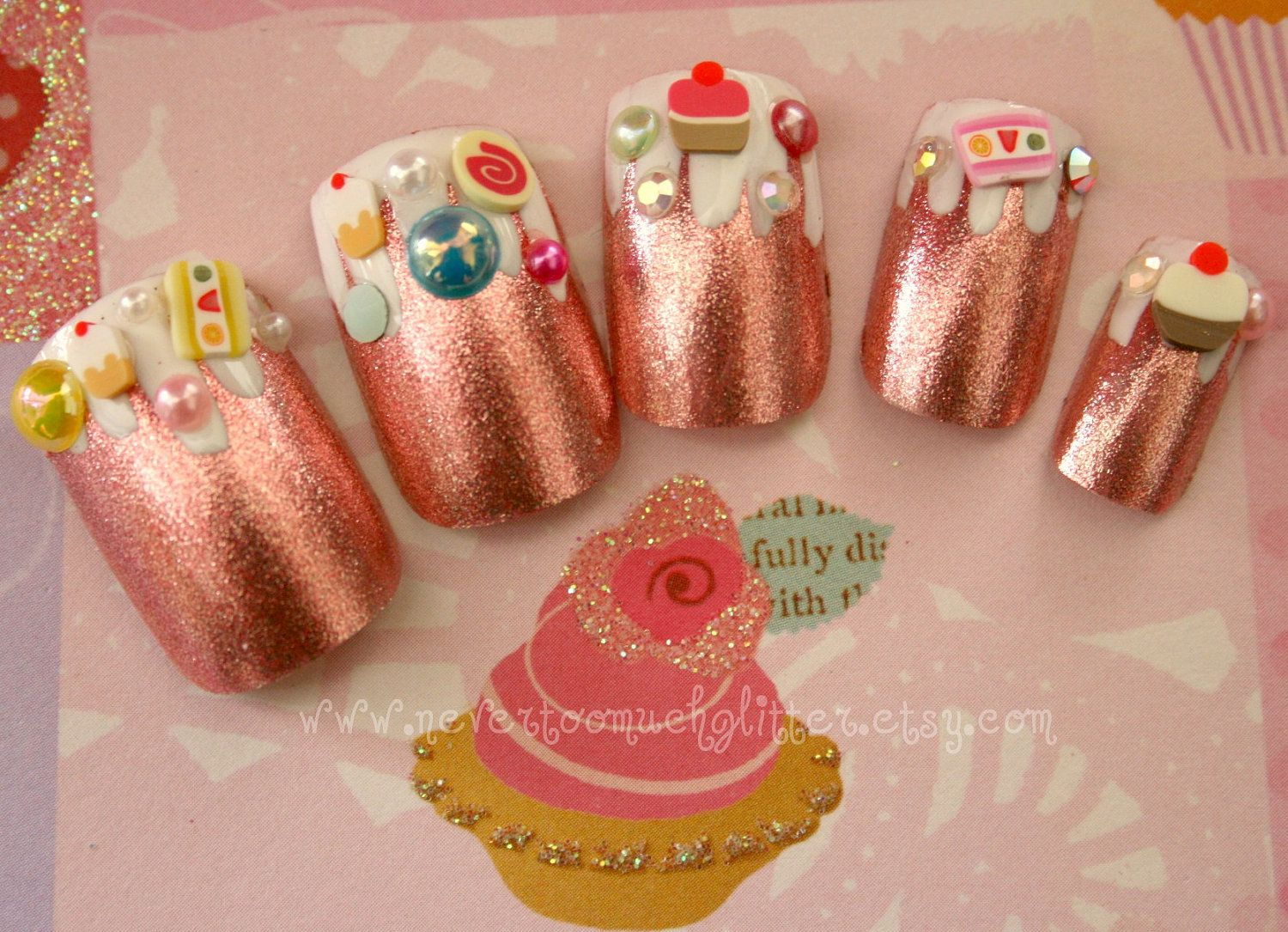 Candyland Fake Nails, Pink Foil Dessert Fantasy Kawaii 3D Sweets ...