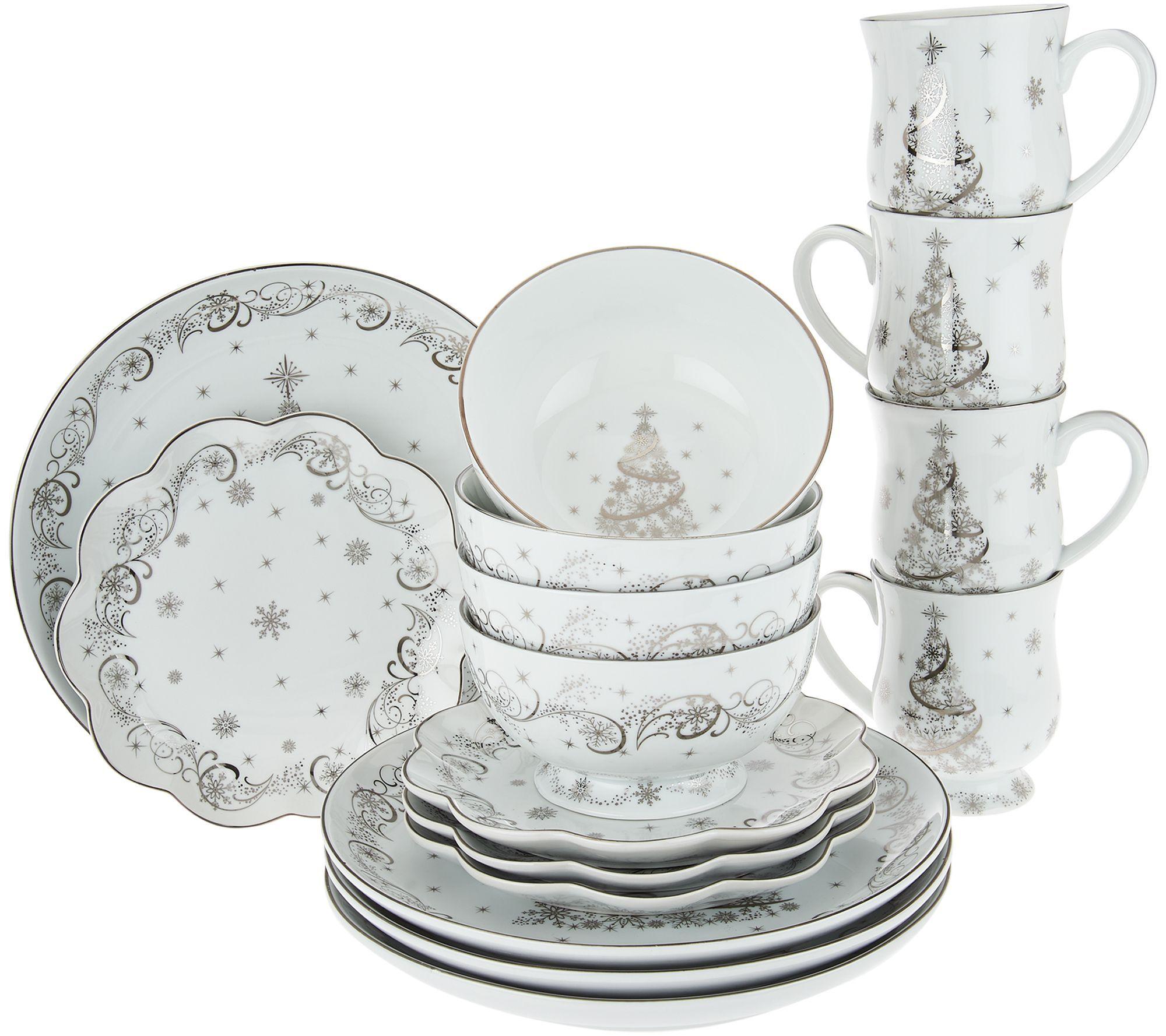 Temp Tations Metallic Christmas Eve 16 Piece Dinnerware Set Qvc Com Christmas Dinnerware Sets Christmas Dinnerware Holidays Christmas Dishes Sets