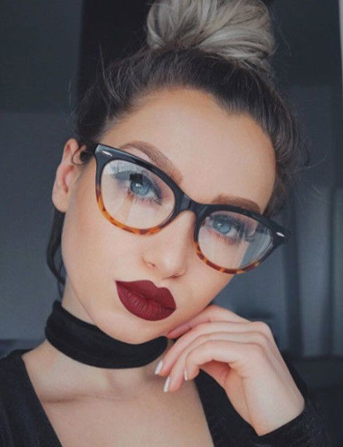 661d1f7b6 Vintage Black Tortoise Gradient Cat Eye Clear Lenses Eyeglasses Glasses  Ombre