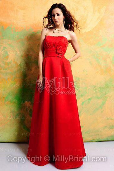 Empire Satin Strapless Floor-length Red Bridesmaid Dress at Millybridal.com