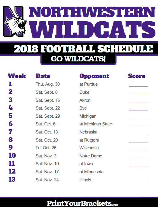 graphic relating to Michigan Football Schedule Printable named 2018 Printable Northwestern Wildcats Soccer Routine