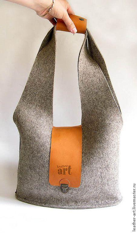 """3db8751e736fc Kabelky Ručné Delane. Objednat Feld bag """"šedé zajíc"""". Leather-Art.  Livemaster. Přírodní vlna, ruční, taška z kůže"""