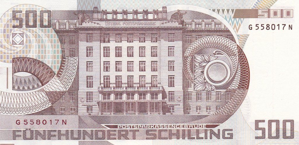 500 Austrian Schilling Rev Currency Design Bank Notes Gold Money