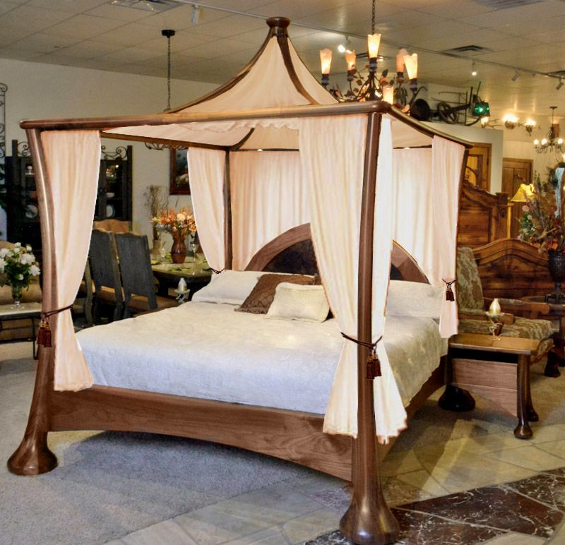 Contemporary Canopy Bed Solid Walnut Bed Cbdj0835 King Size