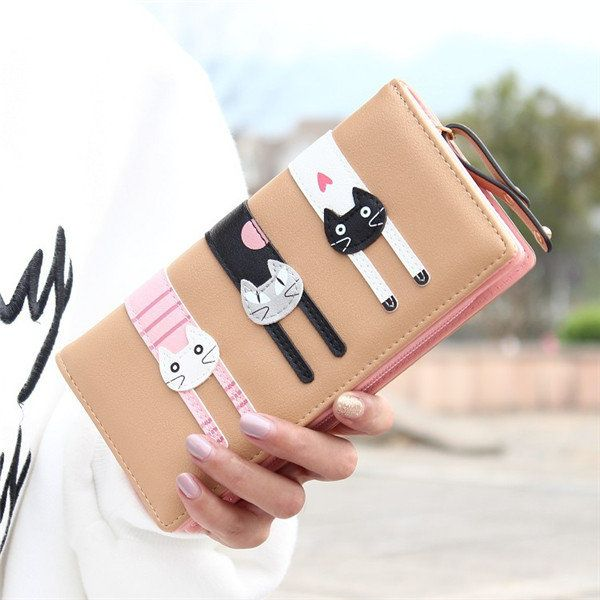 Lovely Three Cat Lady Women Leather Clutch Wallet Long PU Card Holder Purse Bag