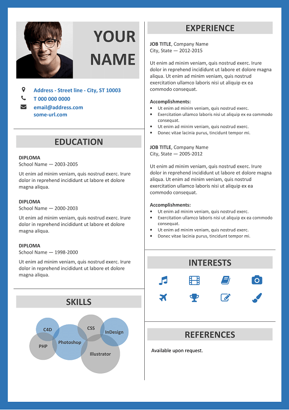 Resume Template Ms Word Fitzroy Free Resume Template Microsoft Word  Blue Layout
