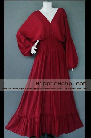 207d2d008b6 No.004 - Size XS-5X Hippie Boho Bohemian Crimson Burgundy Caftan Long  Kimono V Neck Maxi Dresses Women s Plus Size Clothing