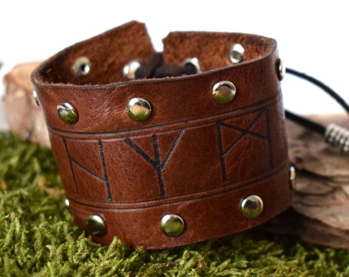 Rune Leather Bracelet With Dome Studs Viking Bracelet Rune