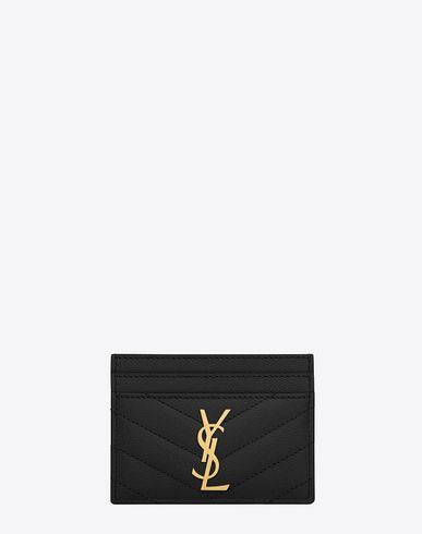 be68aed5 SAINT LAURENT MONOGRAM SAINT LAURENT CREDIT CARD CASE IN BLACK GRAIN ...