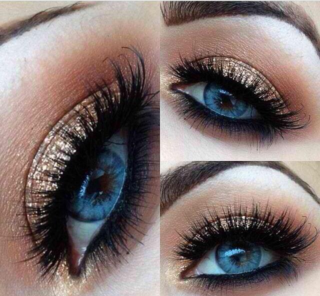 glittery eye shadow pretty blue eyes rock makeup gold eye makeup blue eye makeup
