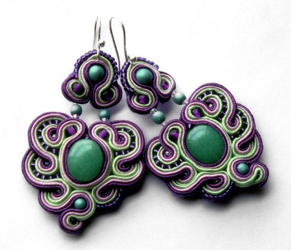 eggplant pink and pistachio    soutache earrings  by KimimilaArt