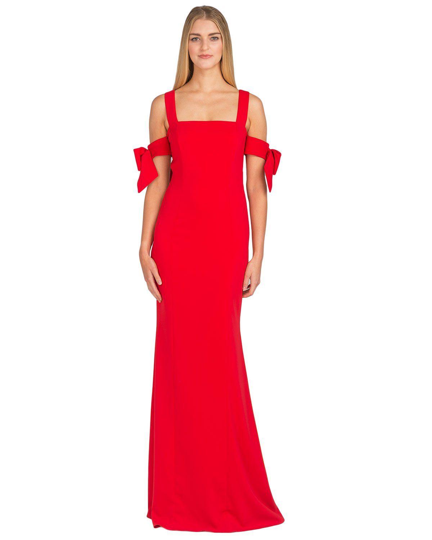 Bow-Sleeve Evening Gown by Badgley Mischka | Wish | Pinterest ...