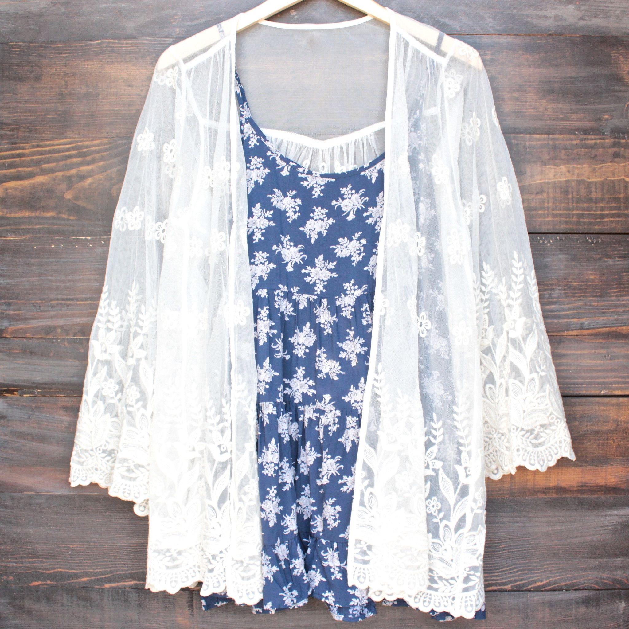 Semi sheer lace kimono jacket in cream | Lace kimono, Kimono ...