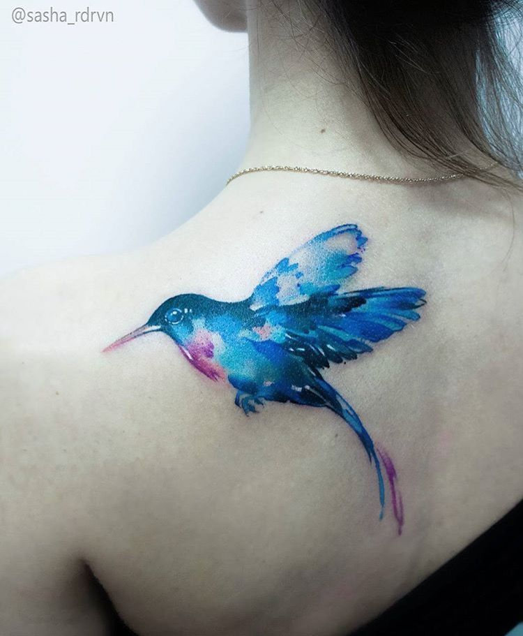 Sasha Marsh watercolor hummingbird tattoo | Tattoos | Pinterest ...