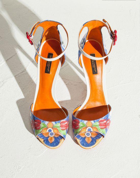 KEIRA MAJOLICA PRINT PATENT LEATHER SANDALS  - High-heeled sandals - Dolce&Gabbana - Summer 2015